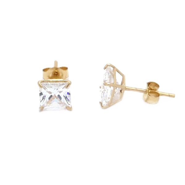 14K Gold Princess Cut CZ Stud Earrings