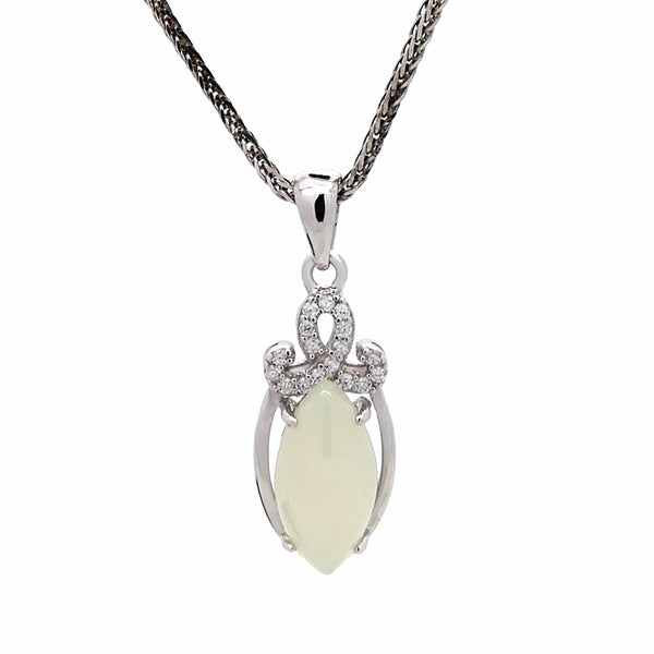 White Elliptical Chalcedony Pendant in Sterling Silver