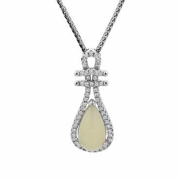 White Teardrop Chalcedony Pendant in Sterling Silver