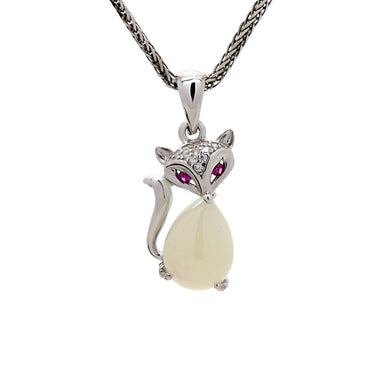 Chalcedony Fox Pendant in Sterling Silver