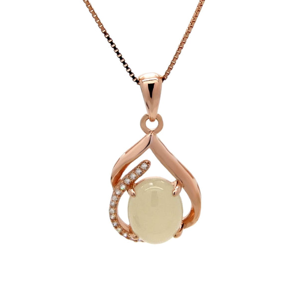 Chalcedony Pendant in Sterling Silver with Rose Gold Finish