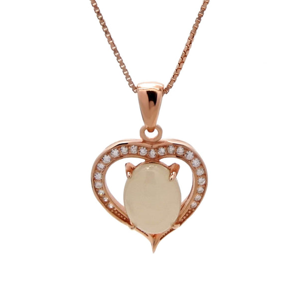 Heart Chalcedony Pendant in Sterling Silver with Rose Gold Finish