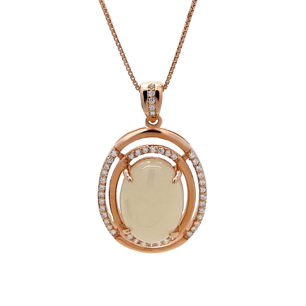 Oval Chalcedony Pendant in Sterling Silver with Rose Gold Finish