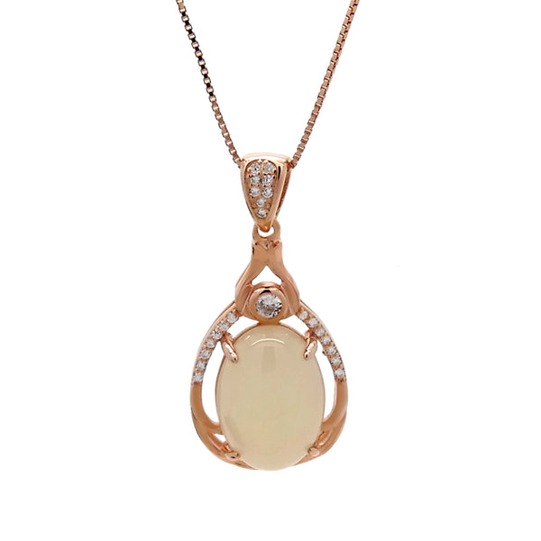 Teardrop Chalcedony Pendant in Sterling Silver with Rose Gold Finish