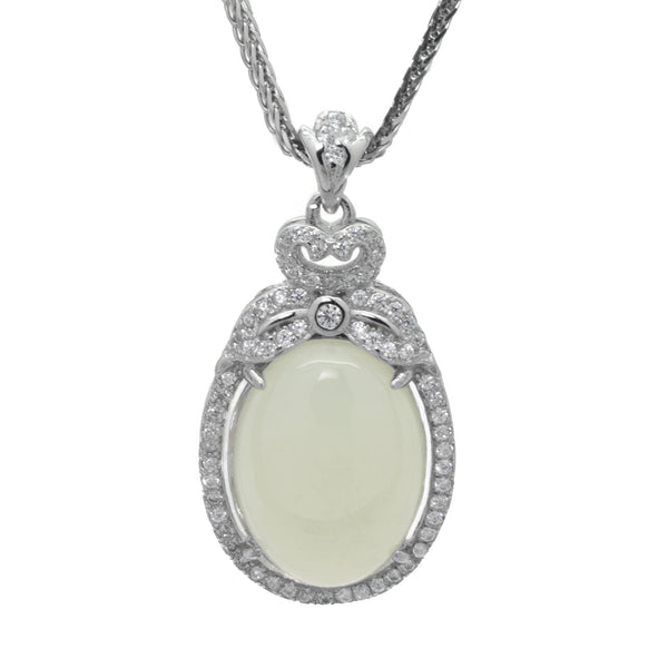 White Chalcedony Pendant in Sterling Silver