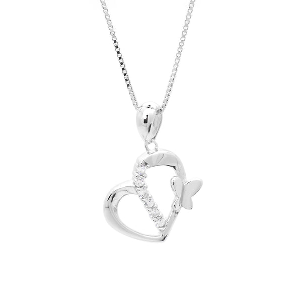 Butterfly Heart Pendant in Sterling Silver