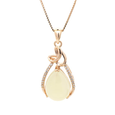 White Chalcedony Pendant in Sterling Silver with Rose Gold Finish