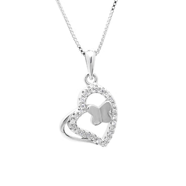 Heart and Butterfly Pendant in Sterling Silver
