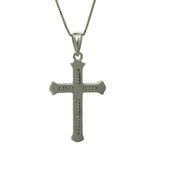 CZ Cross Pendant in Sterling Silver