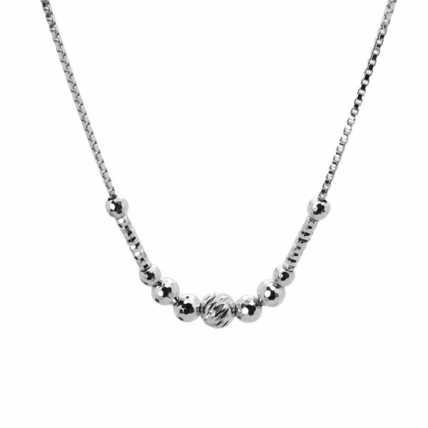 Faceted Bead Necklace in Sterling Silver