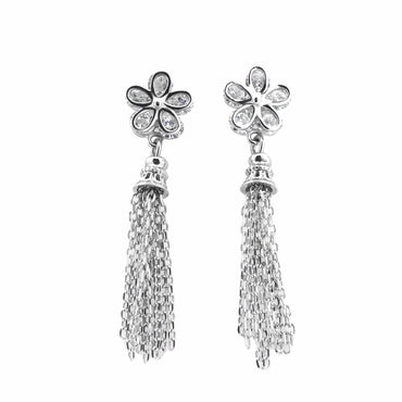 CZ Dangle Earrings in Sterling Silver