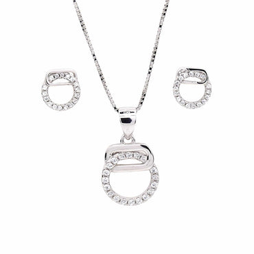 Circular Pendant and Earrings Set in Sterling Silver