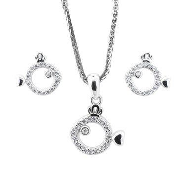 CZ Pendant and Earrings Set in Sterling Silver