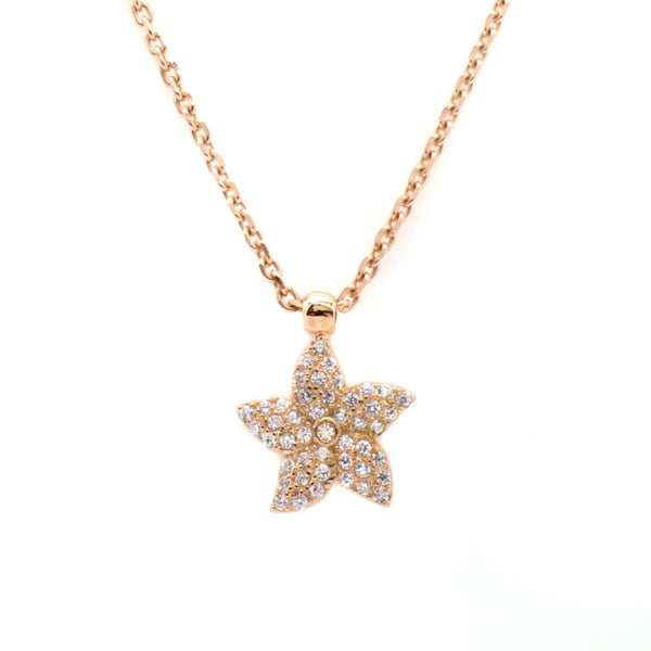 Rose Gold Star Fish Pendant in Sterling Silver