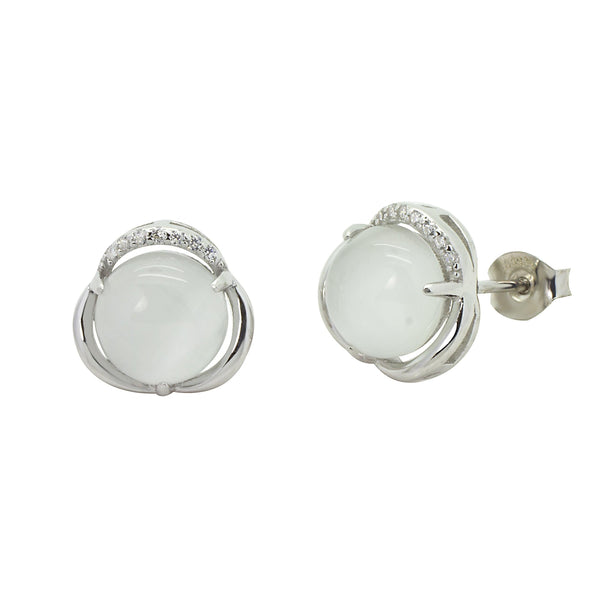 Cat's Eye Stud Earrings in Sterling Silver