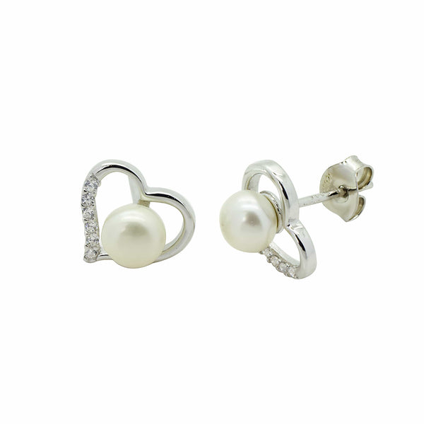 White Pearl Stud Earrings in Sterling Silver