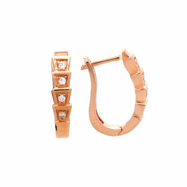 Huggie Earrings in Sterling Silver with Rose Gold Finish
