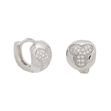 CZ Huggie Earrings in Sterling Silver