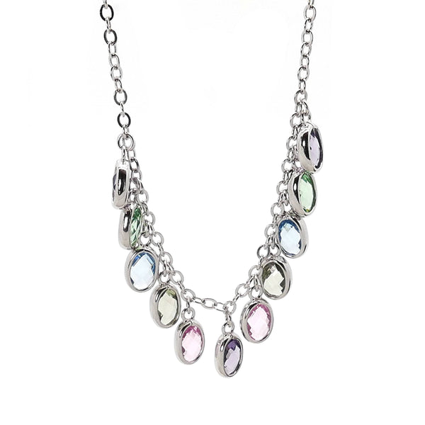 Multi-color CZ Necklace in Sterling Silver