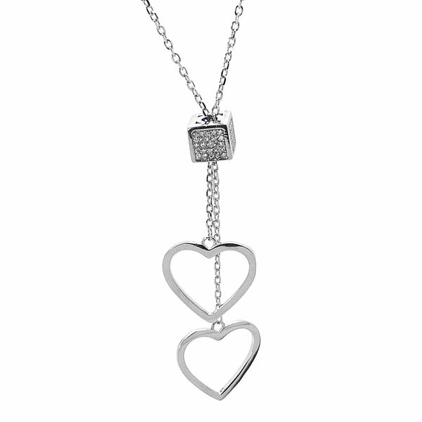 Slider Dangling Hearts Necklace in Sterling Silver