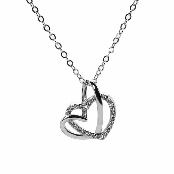 Interlocking Heart Necklace in Sterling Silver