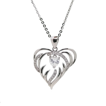 Heart in Flames Pendant Necklace in Sterling Silver