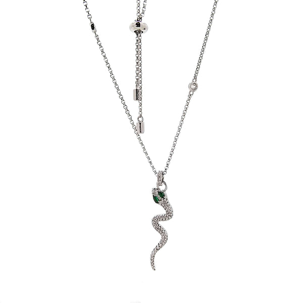 Snake Bolo Pendant Necklace in Sterling Silver