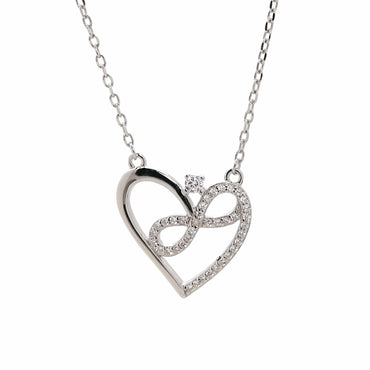 Infinity-Heart Pendant Necklace in Sterling Silver