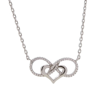 Interlocking Heart-Infinity Pendant Necklace in Sterling Silver