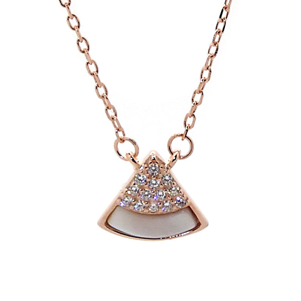 Pyramid Pendant Necklace in Sterling Silver with Rose Gold Finish