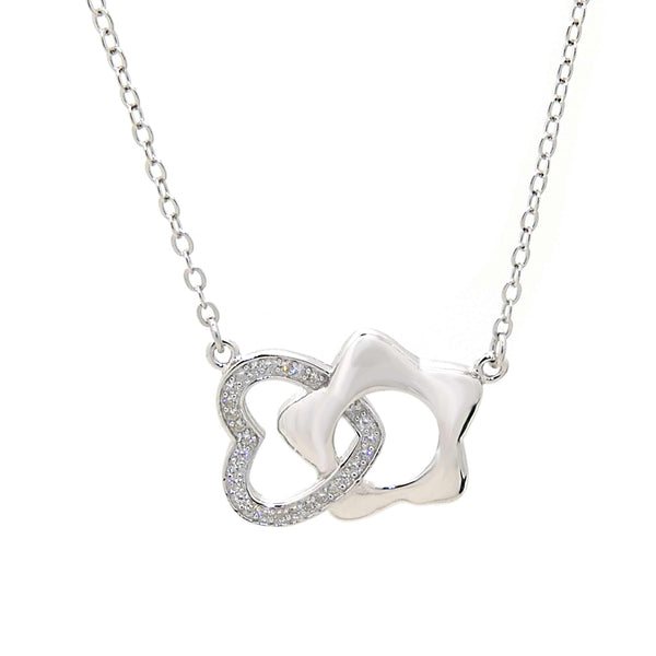 Heart and Star Pendant Necklace in Sterling Silver
