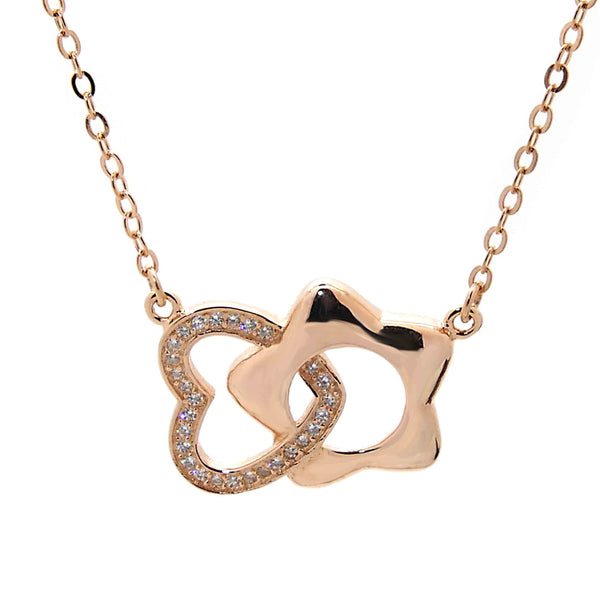 Heart and Star Pendant Necklace in Sterling Silver with Rose Gold Finish