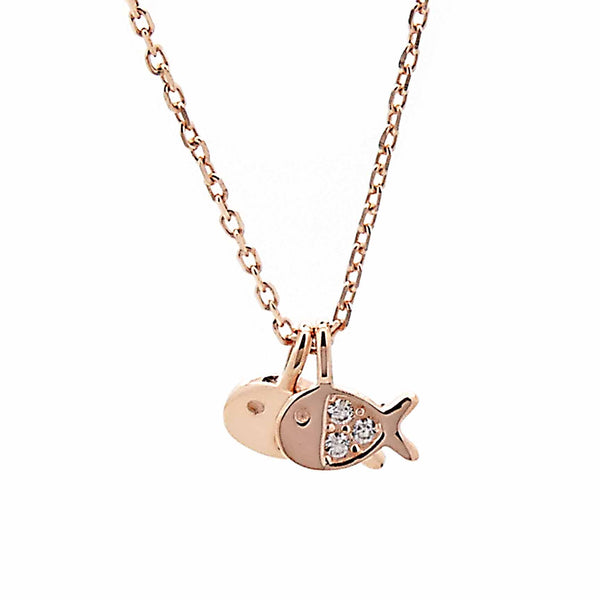 Fish Pendant Necklace in Sterling Silver with Rose Gold Finish