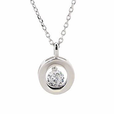 Cz Pendant Necklace in Sterling Silver