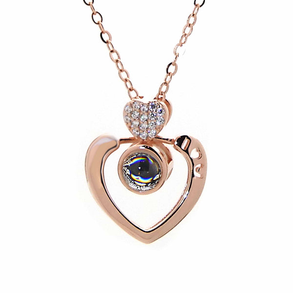 Heart Pendant Necklace in Sterling Silver with Rose Gold Finish