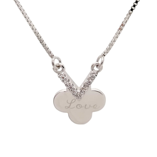 """Love"" Pendant Necklace in Sterling Silver"