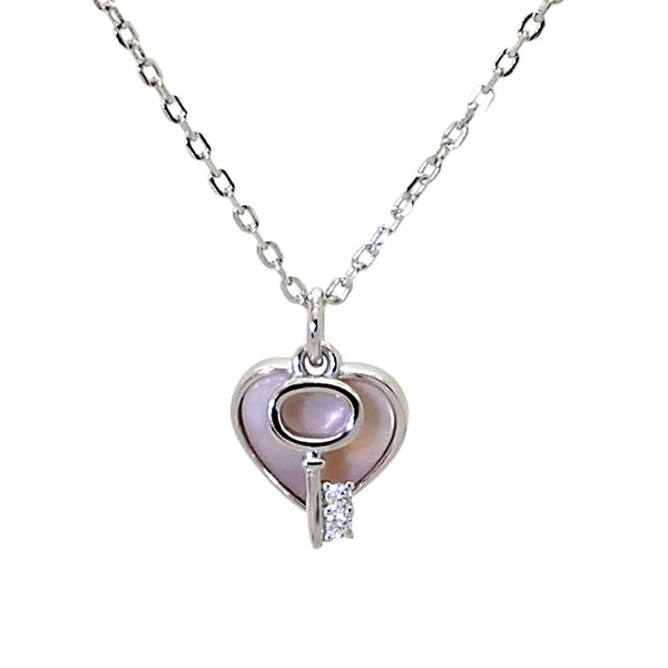 Heart and Key Pendant Necklace in Sterling Silver