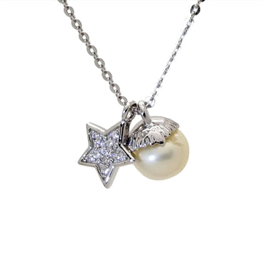 Pearl and Star Pendant Necklace in Sterling Silver