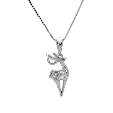 Reindeer Pendant Necklace in Sterling Silver