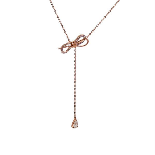 Double Bow Pendant Necklace in Sterling Silver with Rose Gold Finish