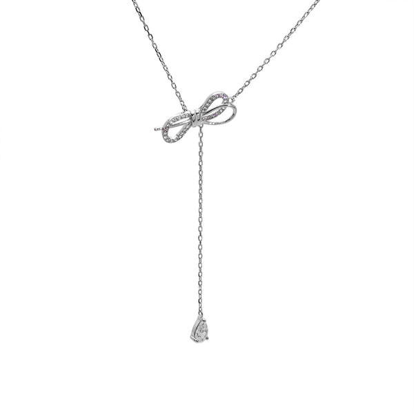 Double Bow Pendant Necklace in Sterling Silver