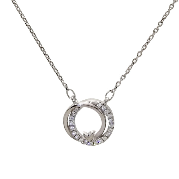 Linked Circle Pendant Necklace in Sterling Silver