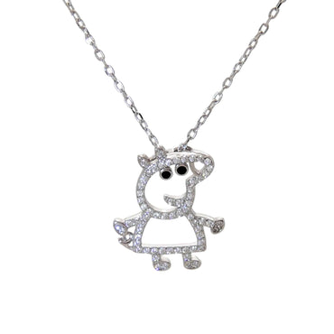 Piggy Pendant Necklace in Sterling Silver