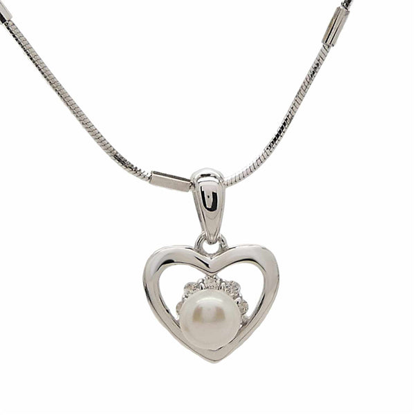 Pearl Heart Pendant in Sterling Silver