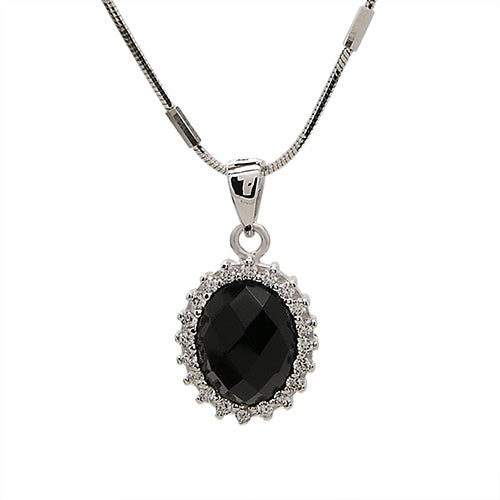 Oval Pendant in Sterling Silver with Cubic Zirconia Accents