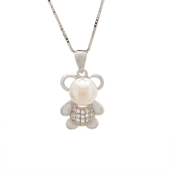 Panda Bear Pearl Pendant in Sterling Silver