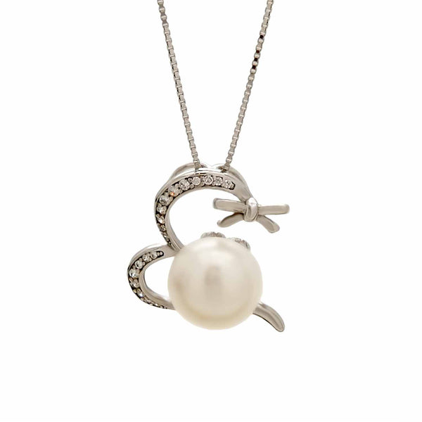 Heart and Bow Pearl Pendant in Sterling Silver