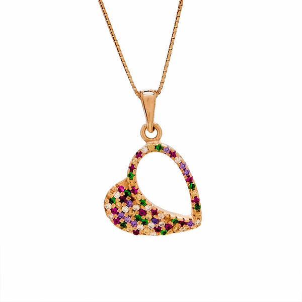 Multi-colored Heart Pendant in Sterling Silver with Rose Gold Finish