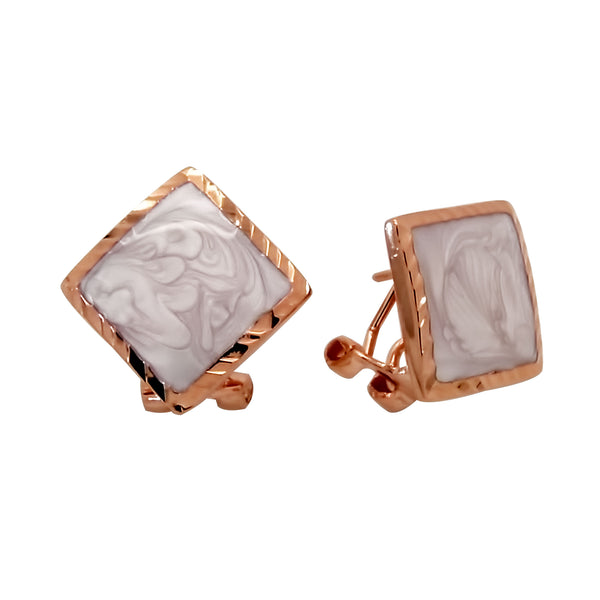 Natural Shell Earrings Set in Sterling Silver with Rose Gold Finish