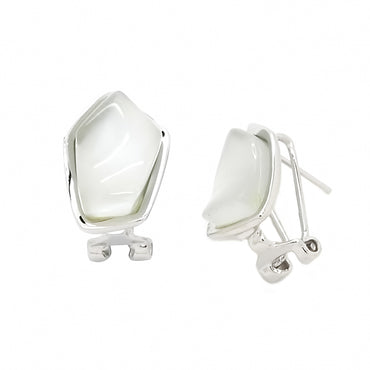 White Agate Earrings in Sterling Silver